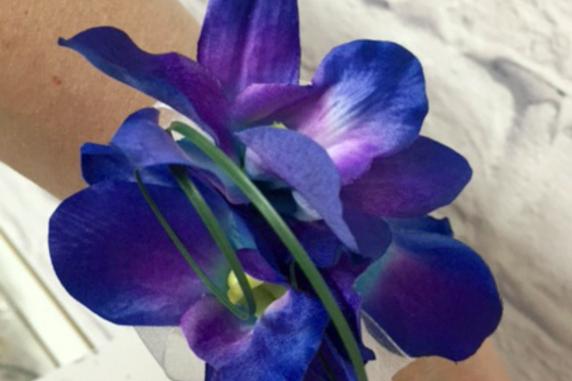 Blue orchid wrist corsage