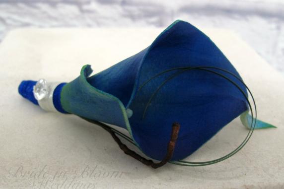 Royal blue calla lily boutonniere