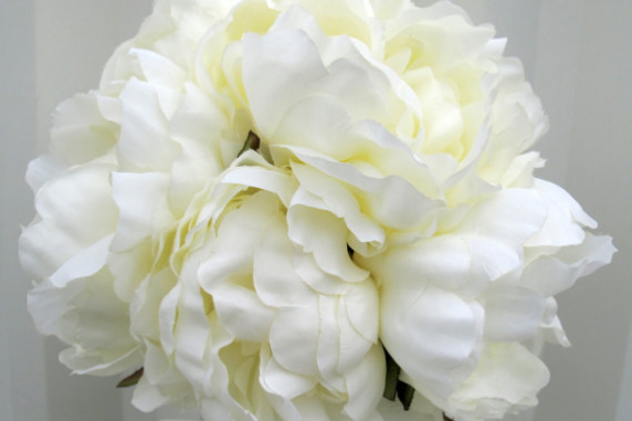 Cream peony wedding bouquet silk bridal flowers