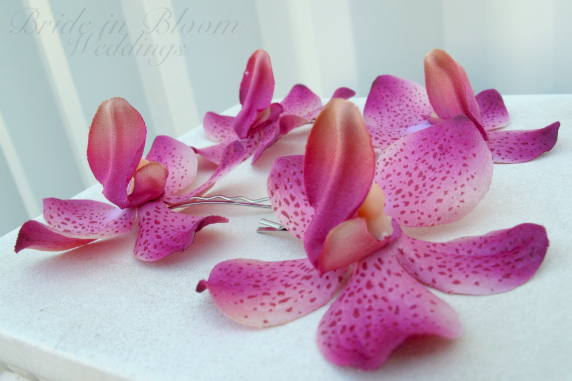 Wedding hair accessories Fuchsia pink orchid bridal hair pins