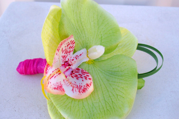Lime green orchid boutonniere