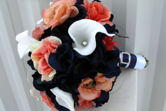 Coral navy calla lily wedding bouquet