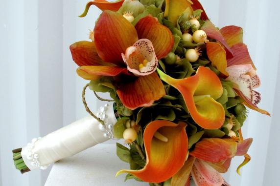 Orchid calla lily silk wedding bouquet