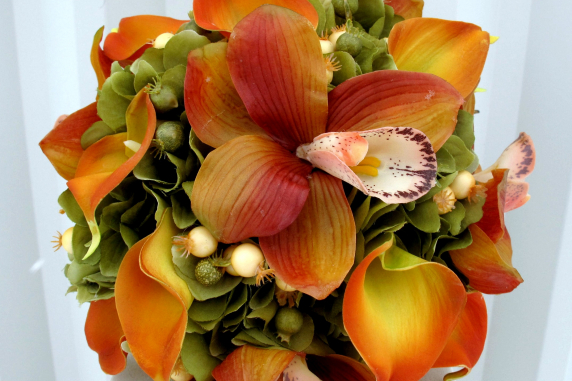 Orchid calla lily silk wedding bouquet