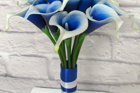 Royal blue Picasso calla lily wedding bouquet