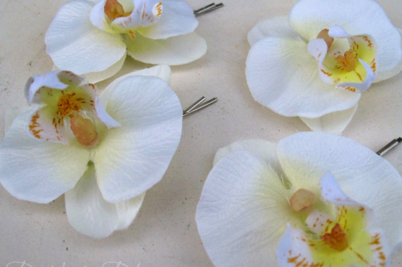 Wedding hair accessories White orchid bridal hair pins