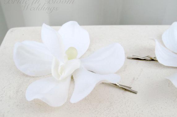 Wedding hair accessories White orchid hair pins