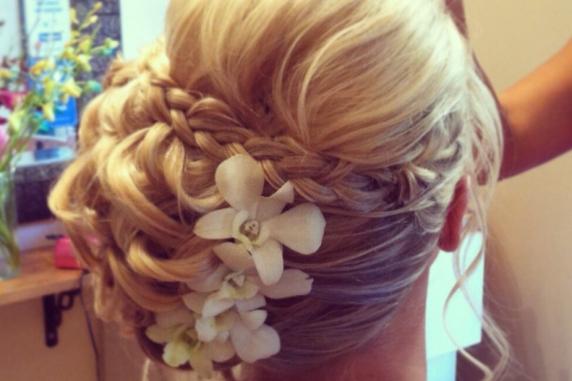 White orchid hair pins