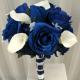 Blue rose calla lily wedding bouquet