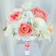Coral rose calla lily wedding bouquet