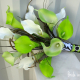 Lime green white calla lily wedding bouquet