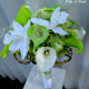 Lime green white calla lily orchid bridal bouquet