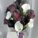 Dark plum purple white calla lily Bridal bouquet