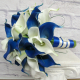 Royal blue white calla lily wedding bouquet