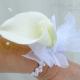 White calla lily wrist corsage
