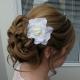 White gardenia bridal hair clip
