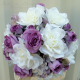 White gardenia lavender rose Wedding bouquet