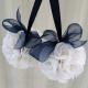 Wedding pomander navy blue and white Kissing ball