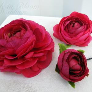 Bridal hair accessories bride in bloom wedding hair accessories hot pink flower hair pins mightylinksfo