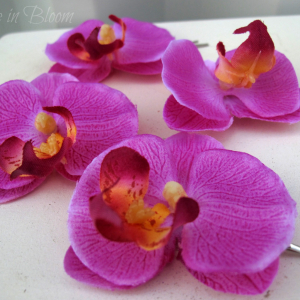 Wedding hair accessories Fuchsia orchid bridal hair pins
