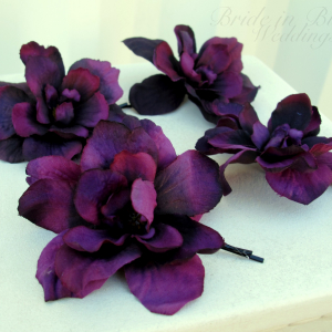 Wedding hair accessories Purple delphinium bridal hair pins