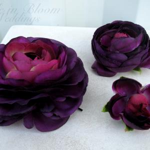Wedding hair accessories Plum purple ranunculus hair pins