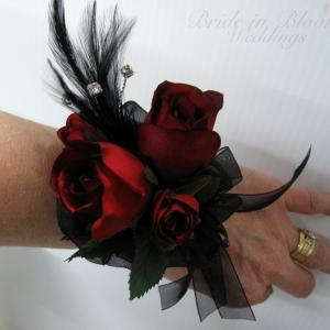 Red black rose wrist corsage