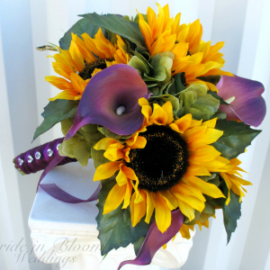 Bridal bouquet Sunflower purple calla lily silk wedding flowers