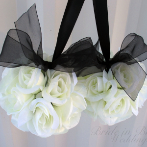 Wedding flower ball Black and white Kissing ball
