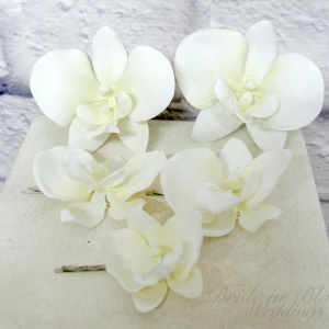White orchid hair pins