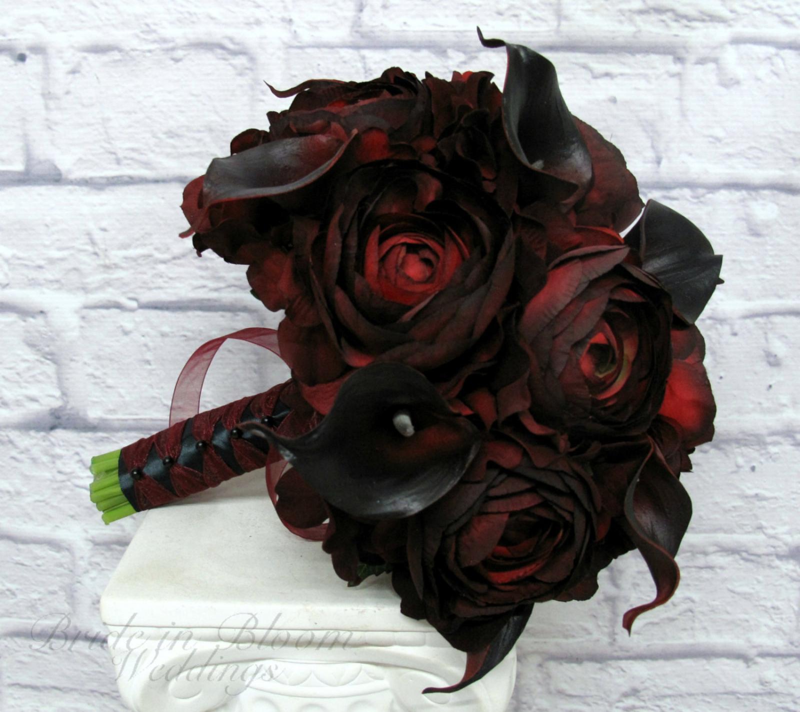 red black wedding bouquet bride in bloom