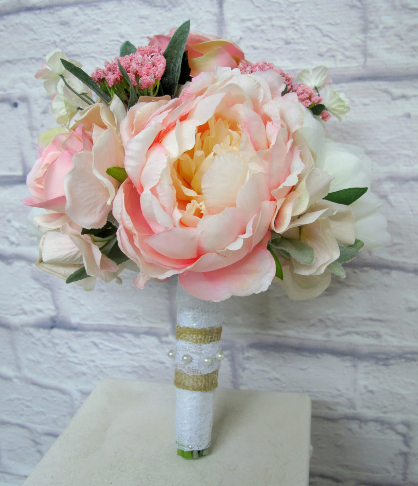 Wedding Bouquet Blush Pink And Ivory Garden Rose Peony Bridesmaid
