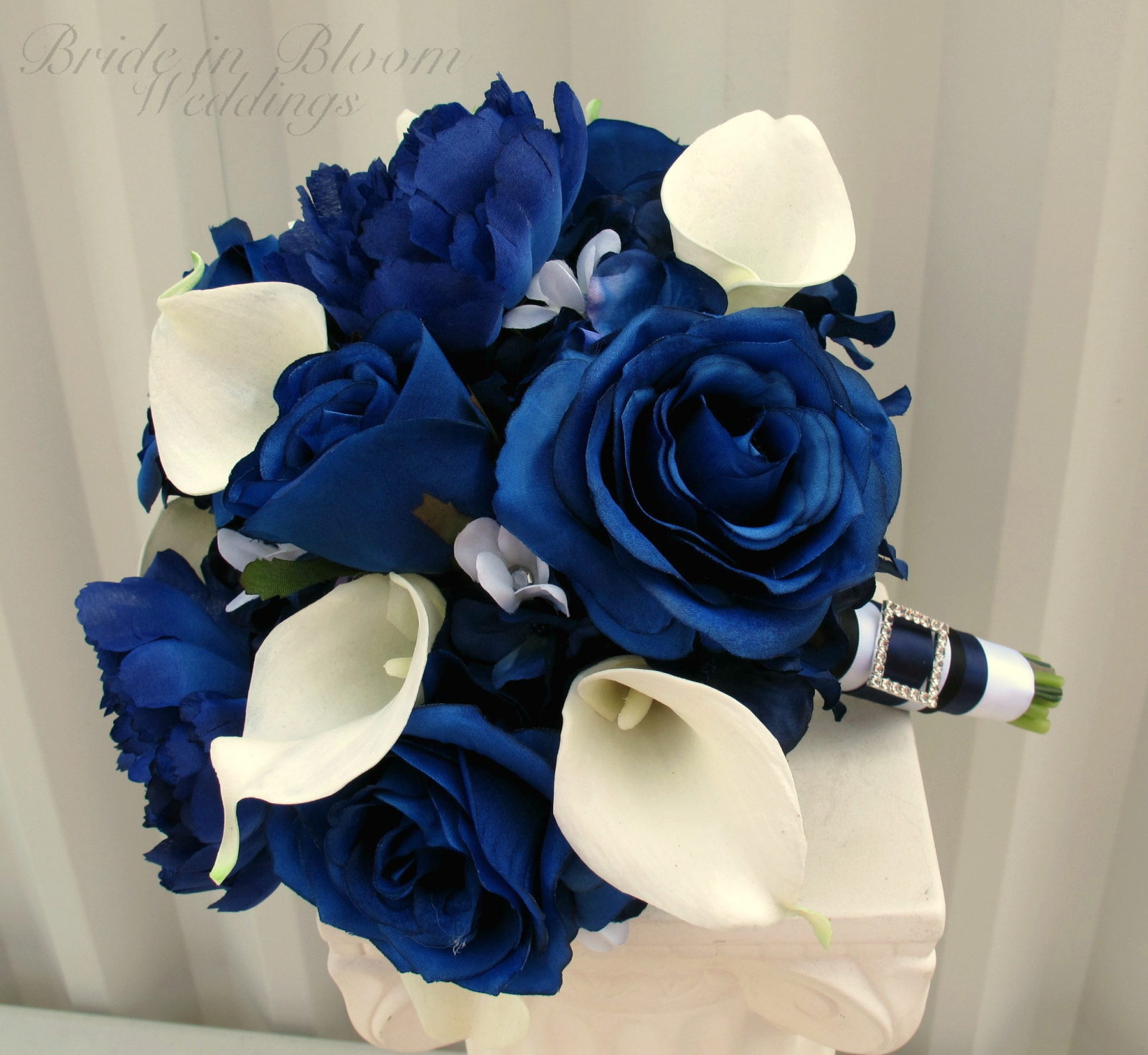 Blue Rose Calla Lily Wedding Bouquet Bride In Bloom