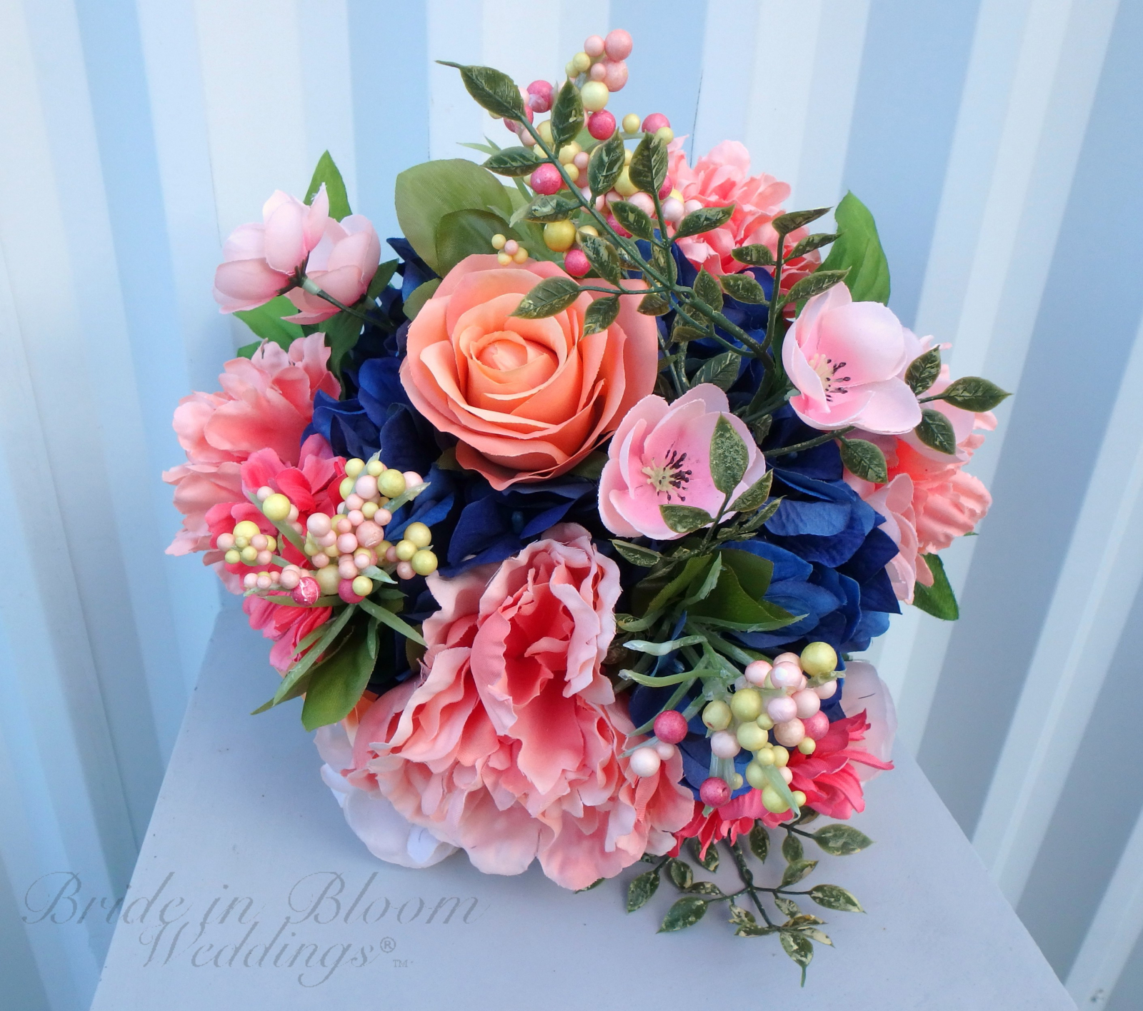 Navy And Coral Wedding.Diy Wedding Bouquet With Tutorial Navy Coral Wedding Flowers Diy Bride