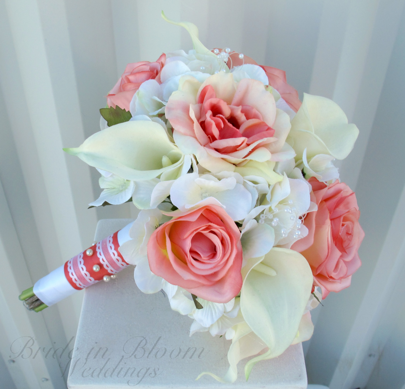 Coral Rose Calla Lily Wedding Bouquet Bride In Bloom