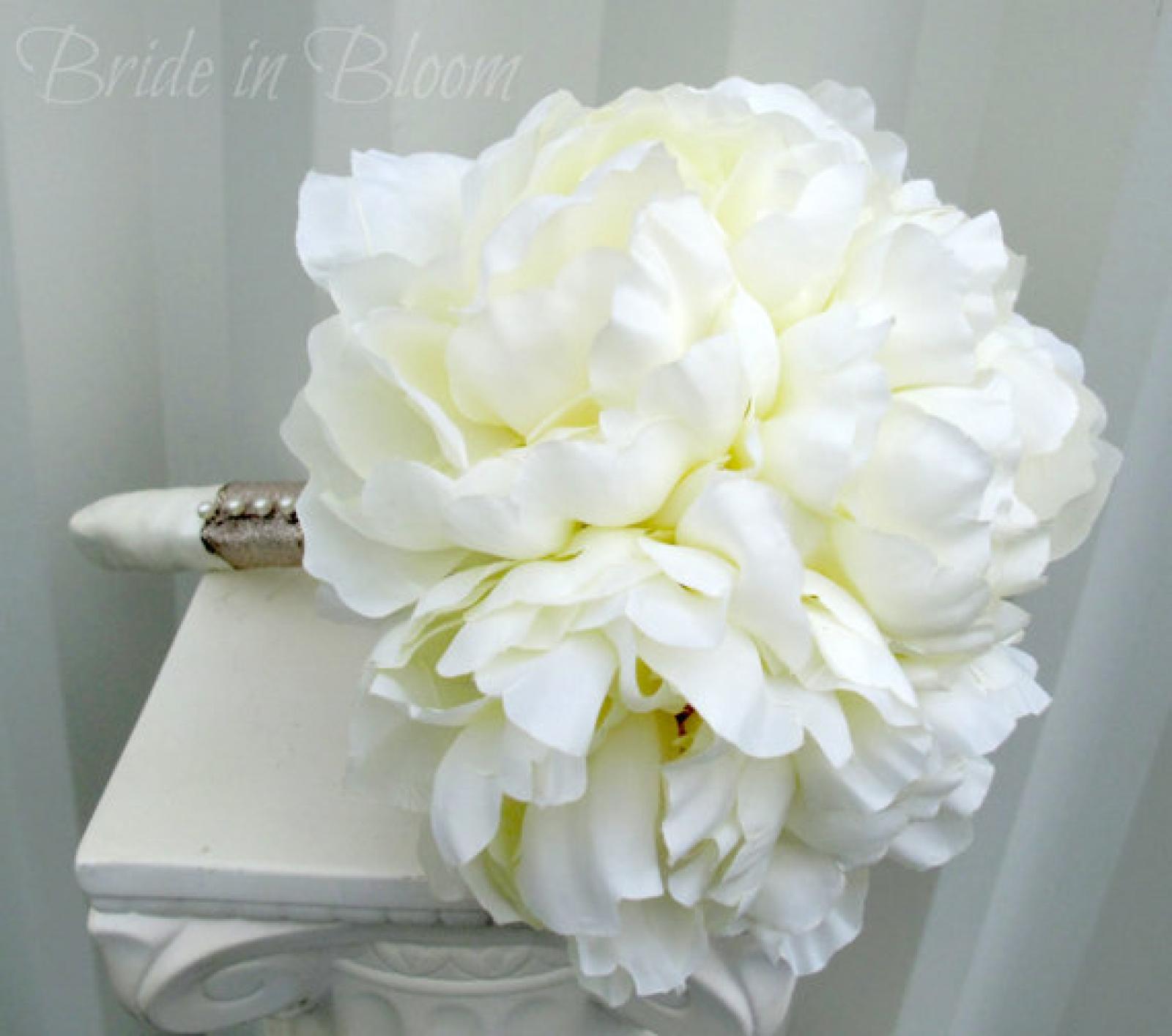 Silk Peony Wedding Bouquet Cream Bridal Flowers