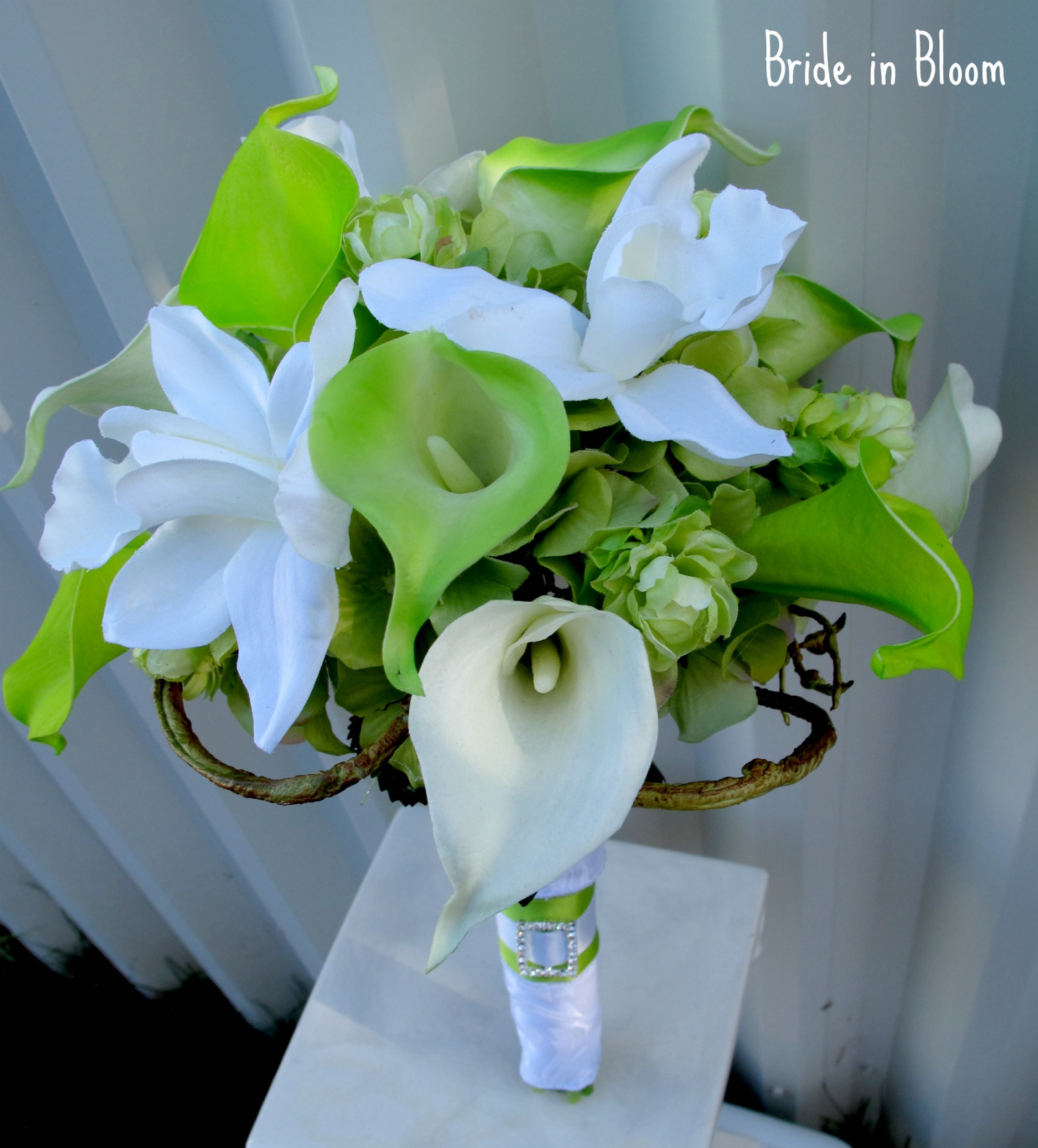 Lime green white calla lily orchid bridal bouquet bride in bloom lime green white calla lily orchid bridal bouquet silk wedding flowers izmirmasajfo