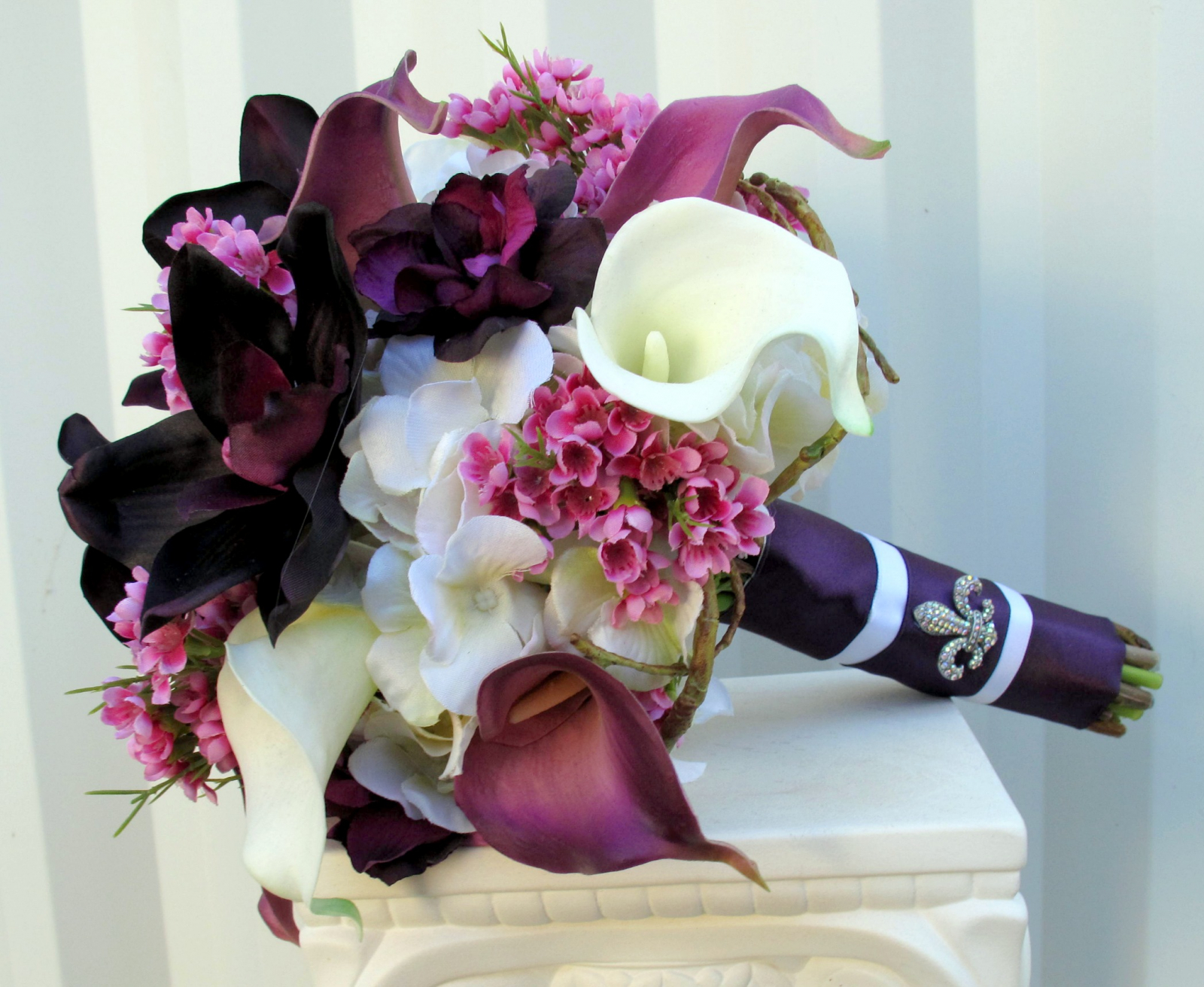 Plum lavender wedding bouquet calla lily orchid silk for Bouquet de fleurs 974