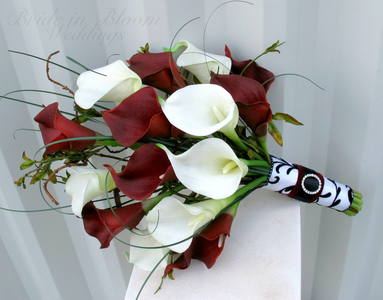 Wedding Bouquet Real Touch Red White Calla Lily Bridal Damask Weddings