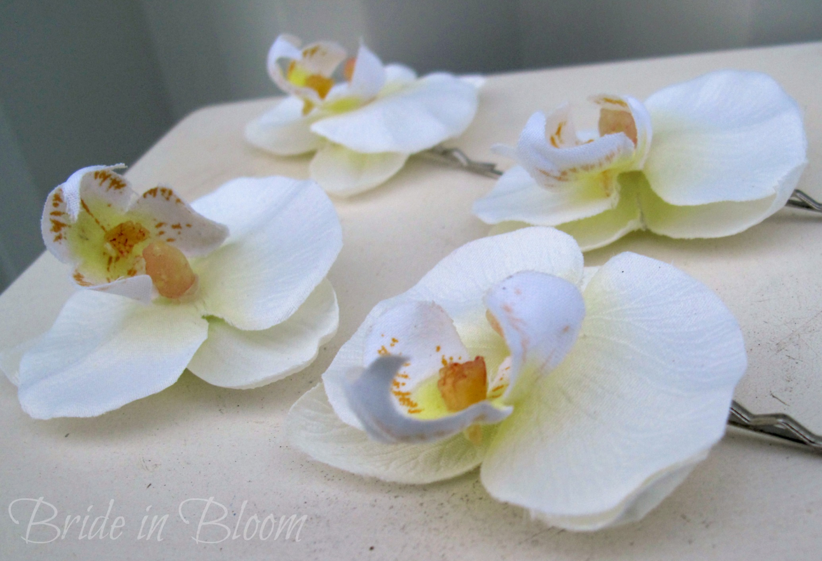 Wedding Hair Accessories White Orchid Bridal Hair Pins Bride In Bloom