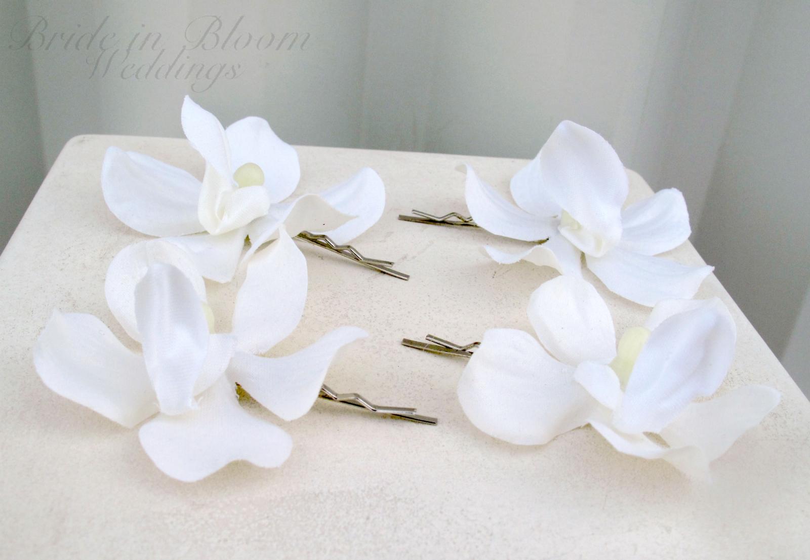 wedding hair accessories white orchid hair pins | bride in bloom
