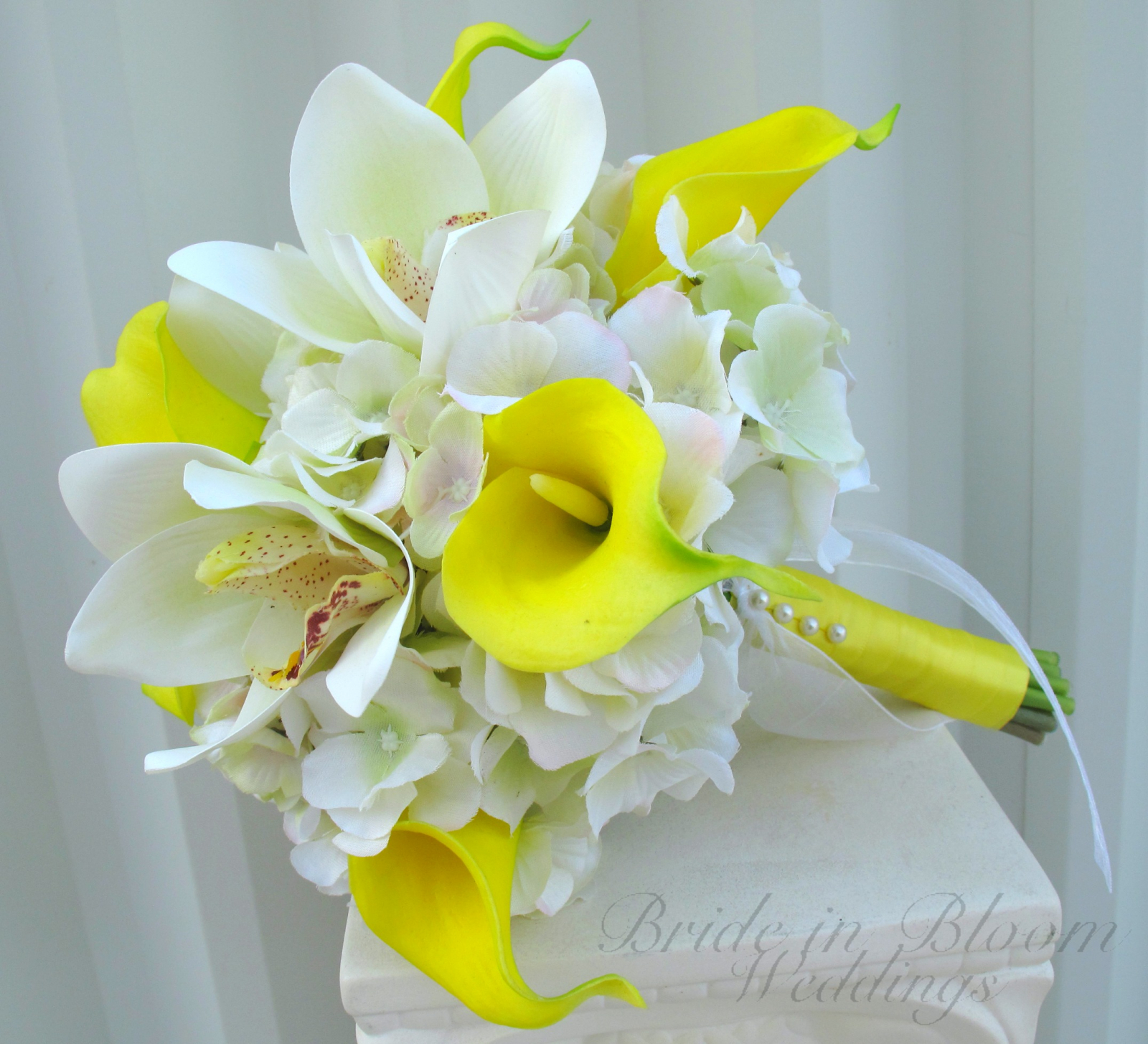 Yellow Calla Lily Orchid Wedding Bouquet Bride In Bloom