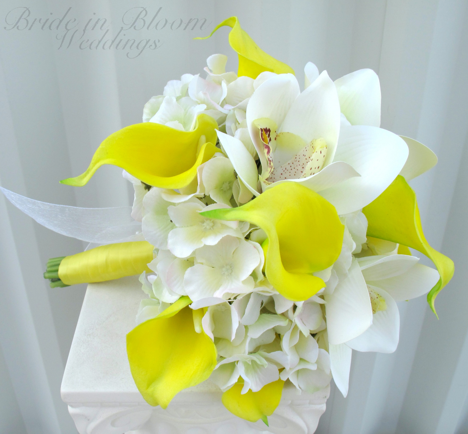 Yellow calla lily orchid wedding bouquet bride in bloom yellow calla lily orchid wedding bouquet silk bridal flowers izmirmasajfo
