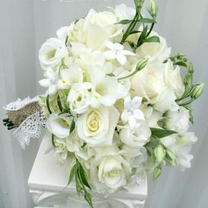 White calla orchid wedding bouquet, burlap & lace