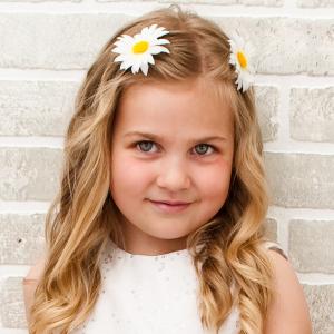Flower girl daisy barrettes