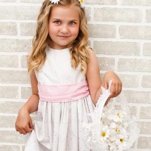 Daisy flower girl basket barrette set