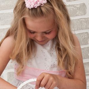Flower girl loopy ribbon barrette