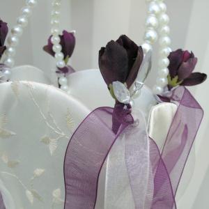 Ivory plum pearl flower girl basket