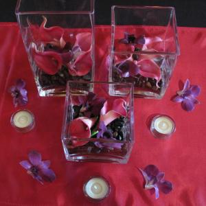 Fuchsia calla purple orchid centerpiece
