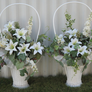 Handled wicker basket arrangements